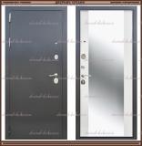 Входная дверь Фаворит зеркало Антик серебро / Белый матовый 90 мм Росс